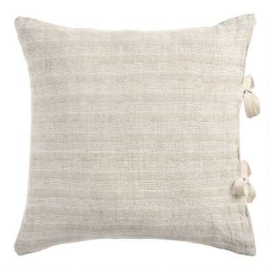 Natural Rustic Woven Stripe Linen Throw Pillow