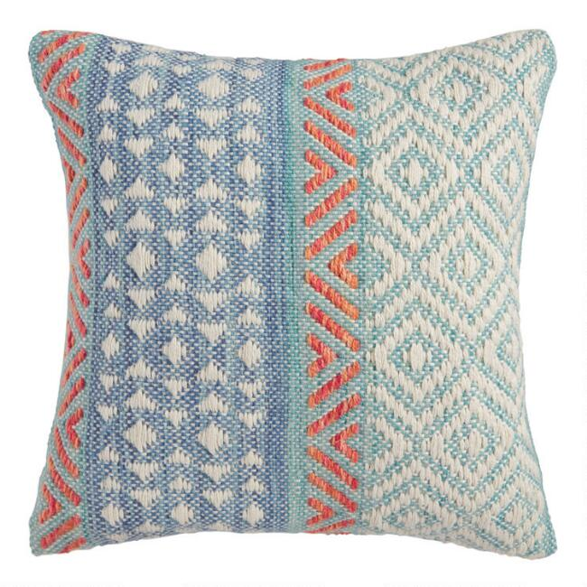 Aqua Blue Dobby Woven Indoor Outdoor Throw Pillow