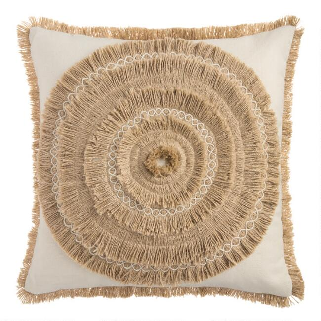 Tan Faux Raffia Indoor Outdoor Throw Pillow