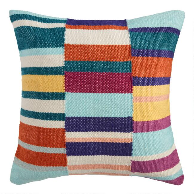 Multicolor Ladder Stripe Indoor Outdoor Throw Pillow