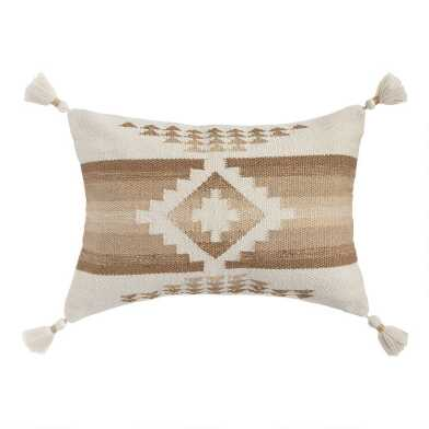 Natural and White Woven Nova Indoor Outdoor Lumbar Pillow