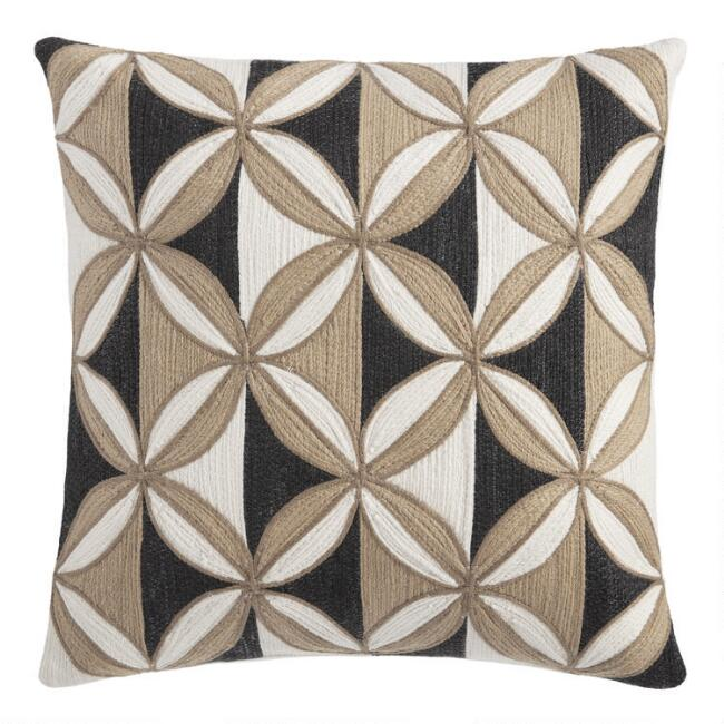 Black and Natural Geo Woven Indoor Outdoor Throw Pillow