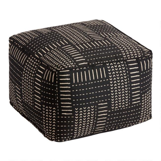 Black and Ivory Zanzibar Indoor Outdoor Pouf