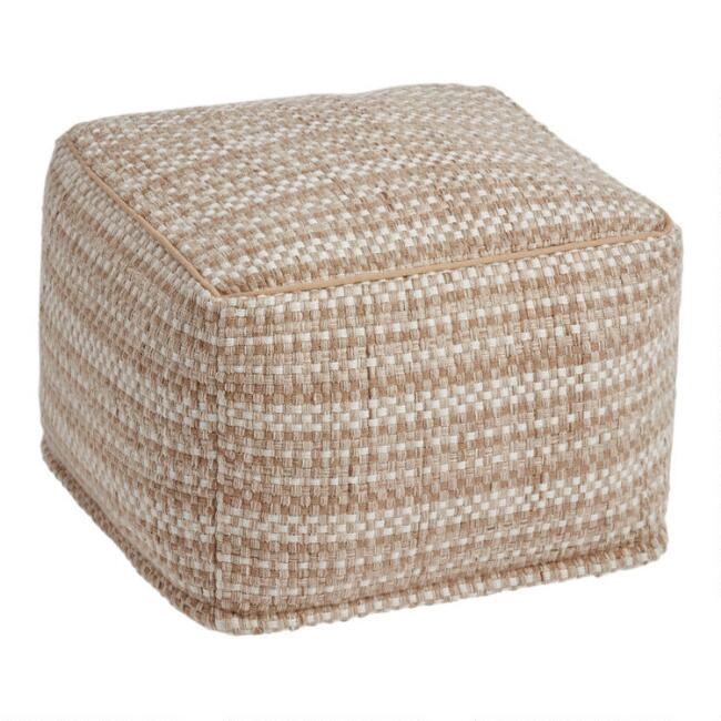 Natural Basket Weave Indoor Outdoor Pouf