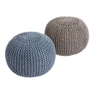 Round Knit Indoor Outdoor Pouf
