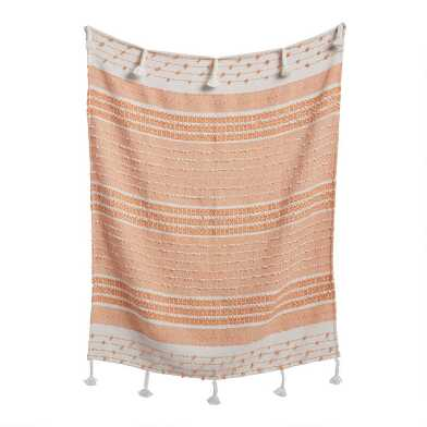 Coral and Ivory Woven Indoor Outdoor Throw Blanket