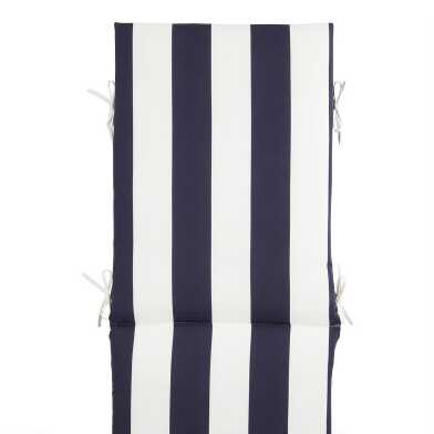 Navy and White Awning Stripe Outdoor Chaise Lounge Cushion