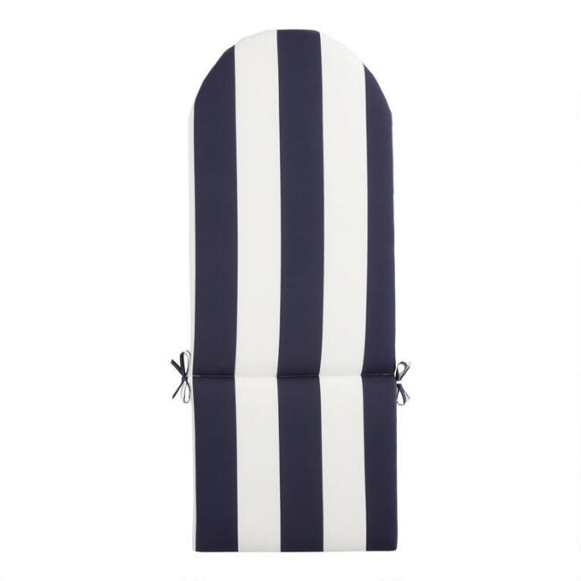 Blue and White Awning Stripe Adirondack Chair Cushion