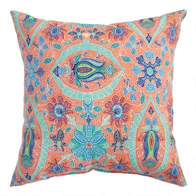 Coral Grotto Mosaic Outdoor Throw Pillow