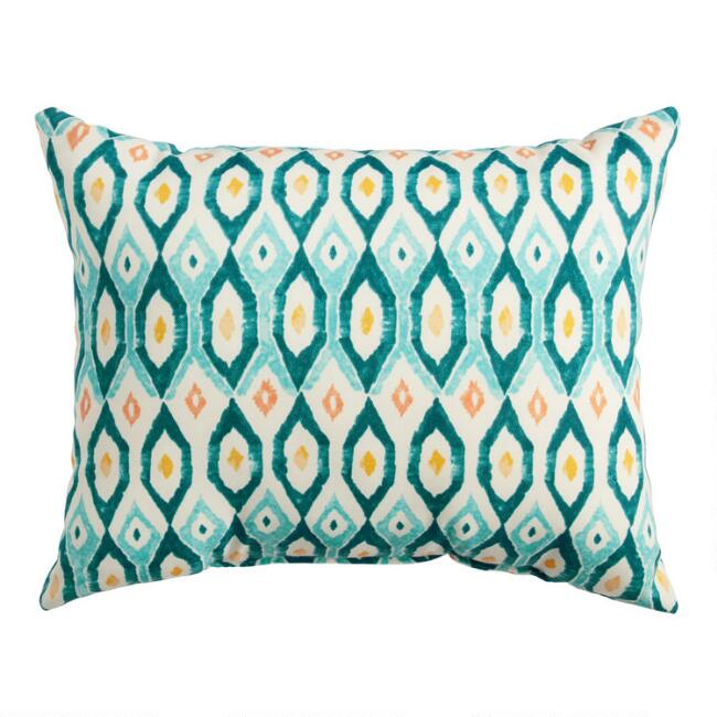 Teal Ikat Circle Outdoor Lumbar Pillow