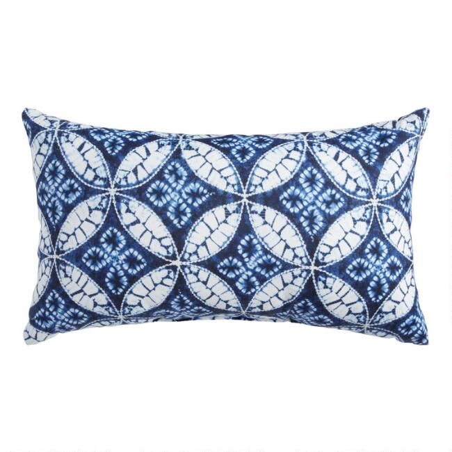Indigo Blue Tie Dye Outdoor Lumbar Pillow