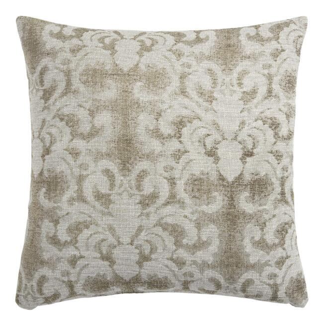 Scrolling Chenille Jacquard Throw Pillow