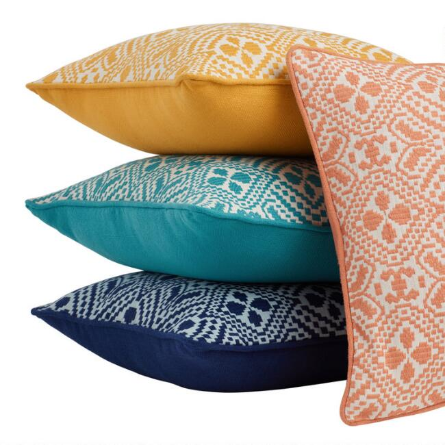 Geometric Jacquard Indoor Outdoor Throw Pillow