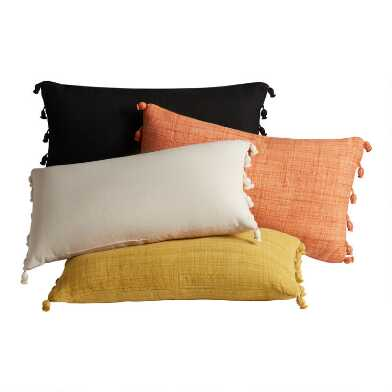 Woven Tasseled Indoor Outdoor Lumbar Pillow