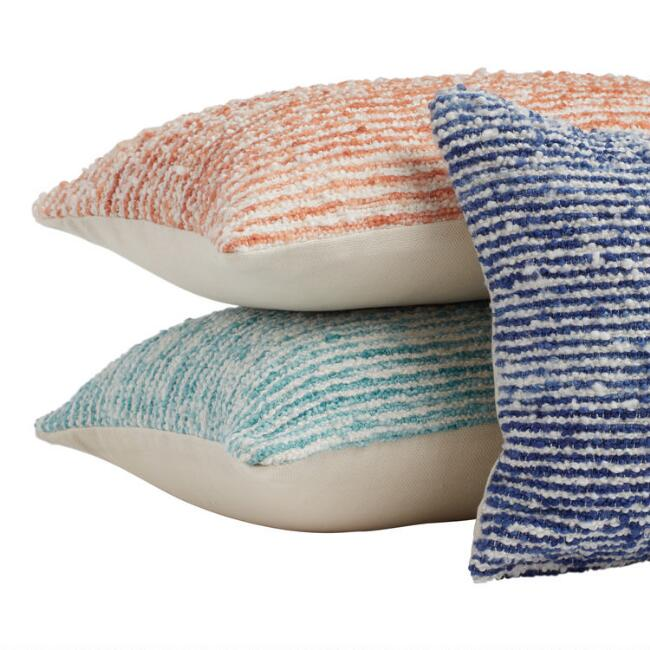 Woven Boucle Stripe Indoor Outdoor Lumbar Pillow