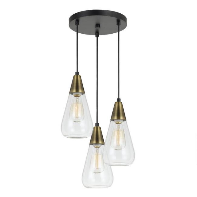 Antique Brass and Glass Cone 3 Light Taavi Pendant Lamp