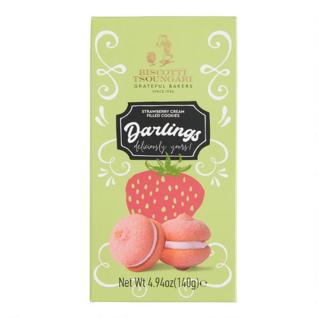 Biscotti Tsoungari Darlings Strawberry Cream Filled Cookies