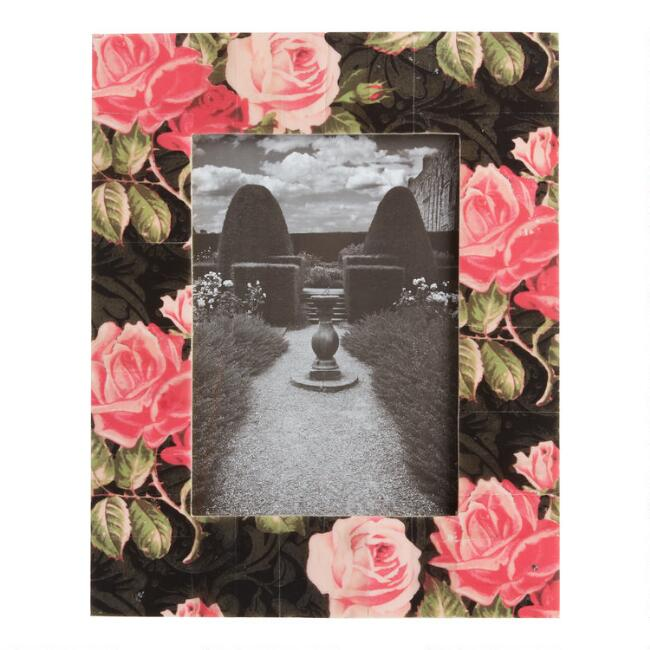 Black and Pink Rose Blooms Bone Frame