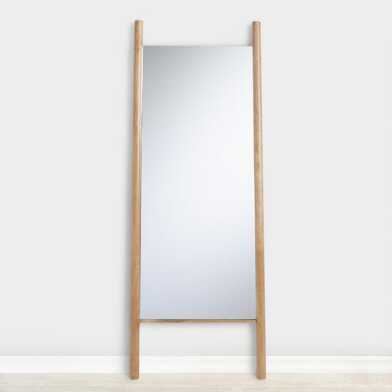 Natural Wood Ladder Leaning Full Length Arya Mirror