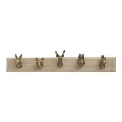 Woodland Creatures 5 Hook Wall Rack