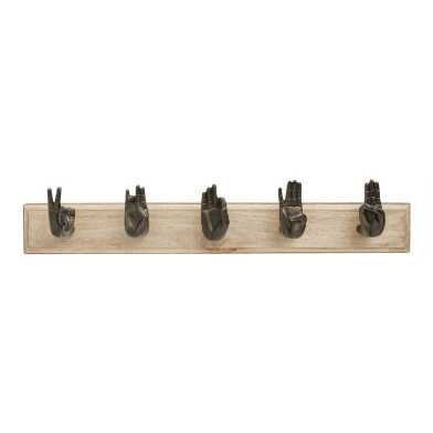 Wood and Bronze Mudra Hands Wall Rack