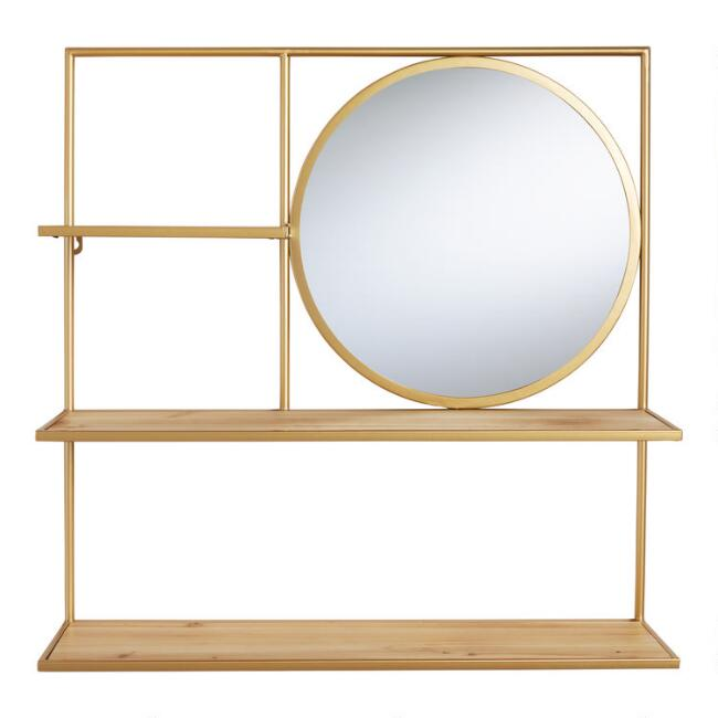 Natural Wood and Gold Avery Wall Shelf with Mirror