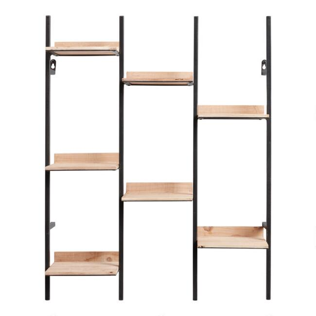 Natural Wood and Black Metal Oliver Wall Shelf