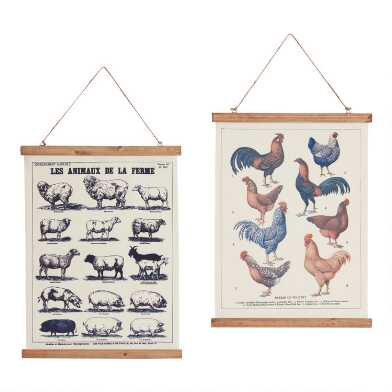 Farm Animals Linen Scroll Wall Hangings Set of 2