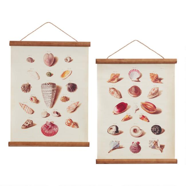 Seashells Linen Scroll Wall Hangings Set of 2