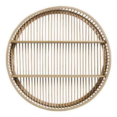 Round Natural Rattan and Wood Sydney Wall Storage