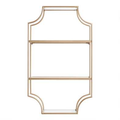 Gold and Glass Notched Ophelia Wall Shelf