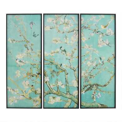 Songbirds Triptych Framed Glass Wall Art 3 Piece