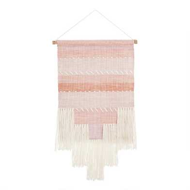 Coral and Blush Stripes Wall Hanging