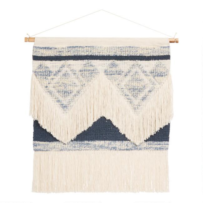 Oversized Cream and Indigo Diamond Shag Wall Hanging