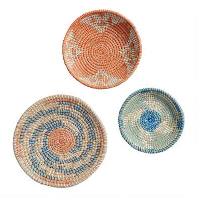Blue And Coral Seagrass Disc Wall Decor 3 Piece