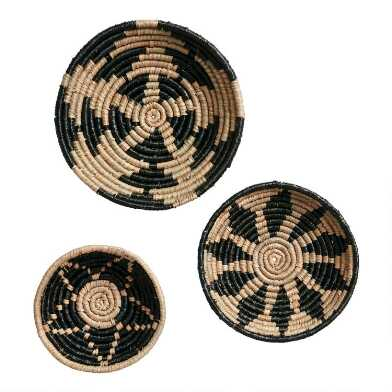 Natural And Black Woven Basket Disc Wall Decor 3 Piece