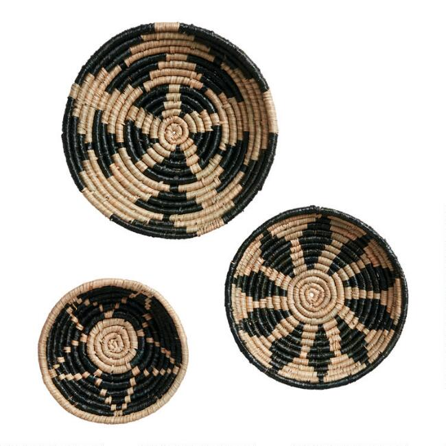 Natural and Black Woven Basket Disc Wall Decor 3 Pack