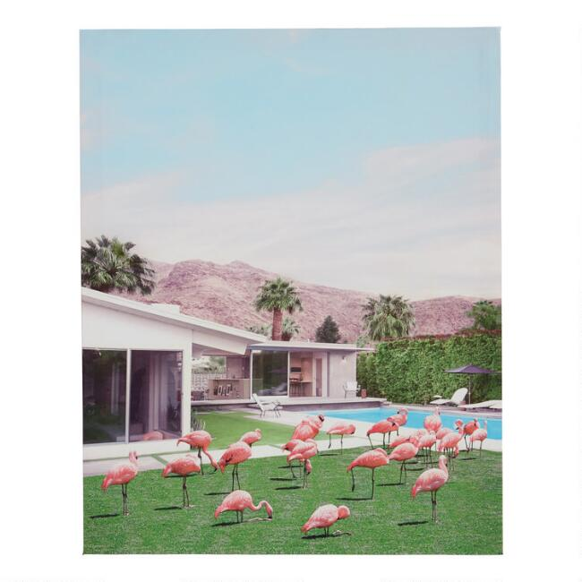 Palm Springs Flamingos by Paul Fuentes Canvas Wall Art