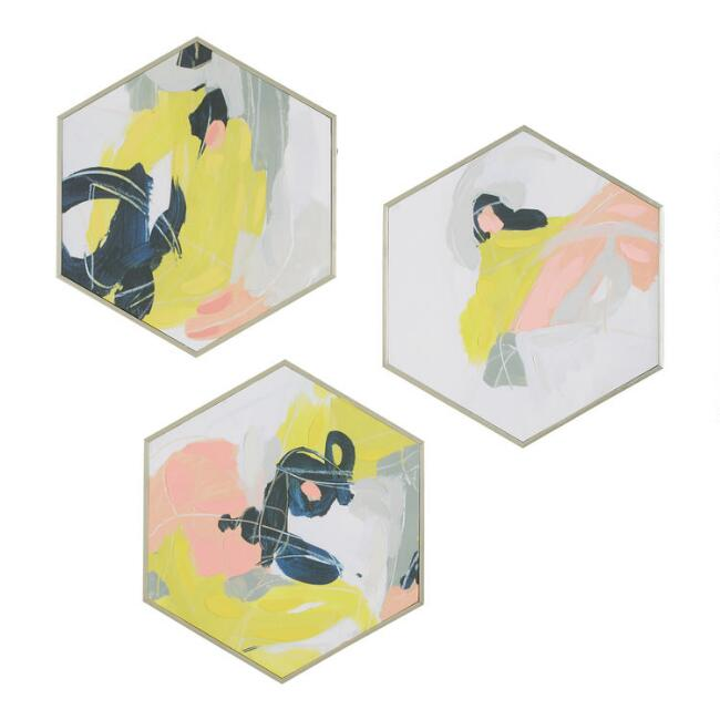 Hexagonal Abstracts Framed Wall Art 3 Piece
