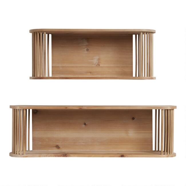 Oval Natural Rattan and Wood Sydney Wall Shelf