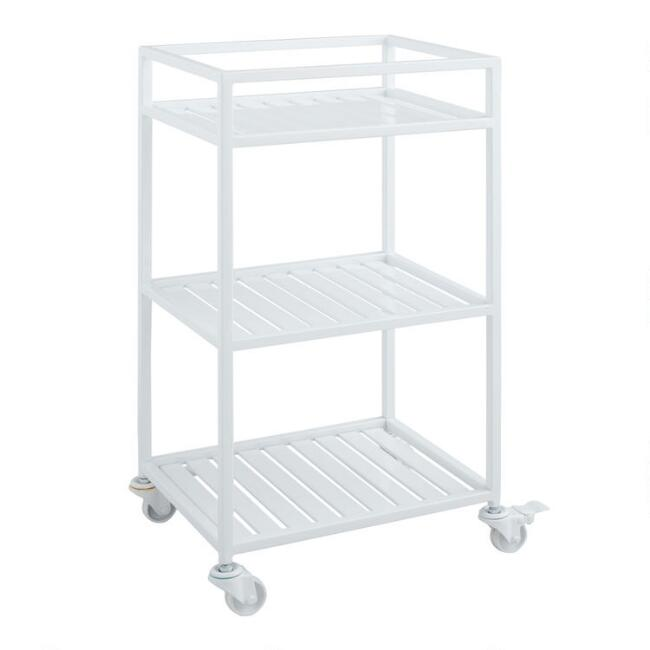 White Metal Kinsley Rolling Cart