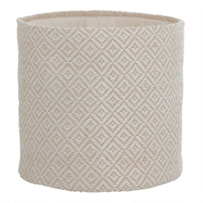 Large Cream Diamond Fabric Gemma Basket
