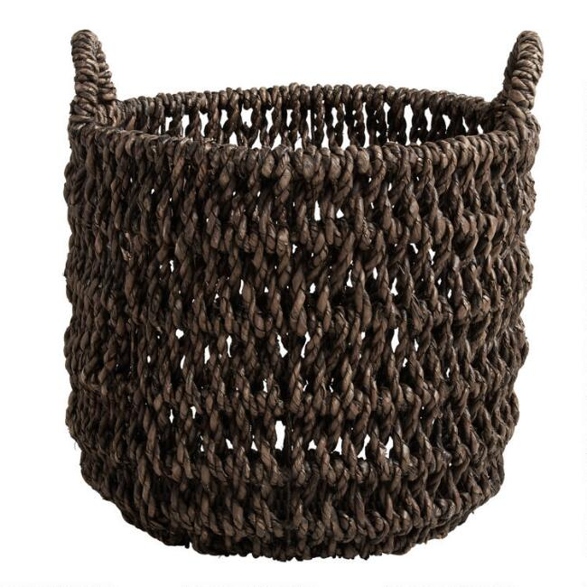 Small Espresso Hyacinth Fallon Tote Basket