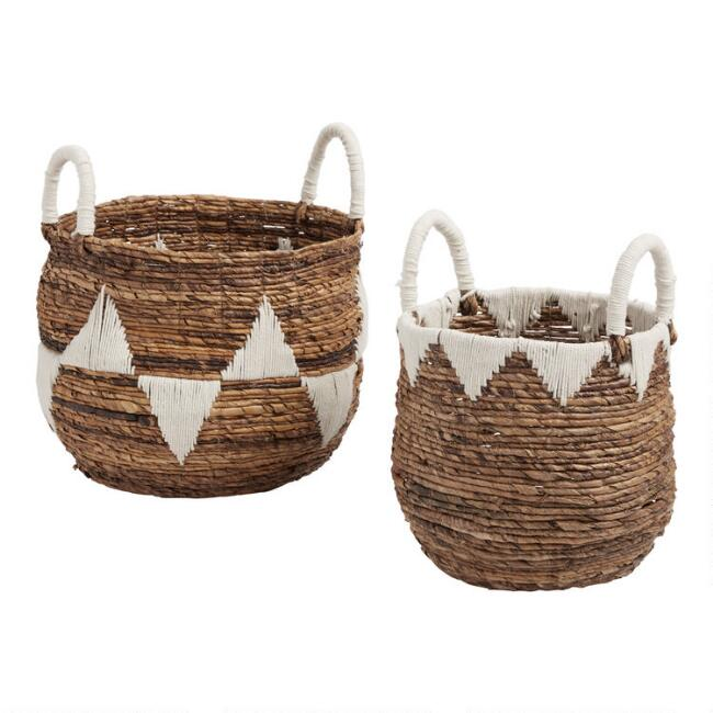 Triangle Cotton And Banana Leaf Poppy Tote Basket