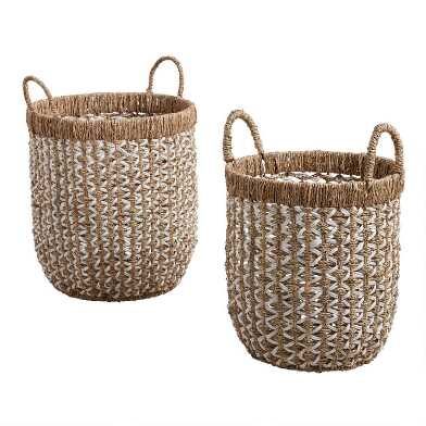 White And Natural Seagrass Clara Tote Basket