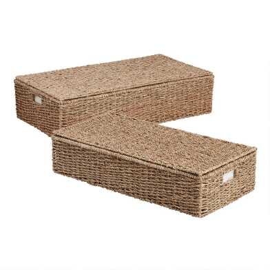 Natural Seagrass Trista Under Bed Storage Basket With Lid