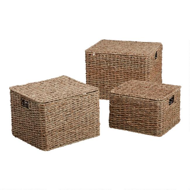 Natural Seagrass Trista Utility Basket With Lid