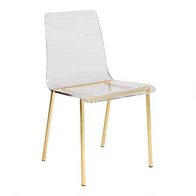 Clear Acrylic and Gold Morris Dining Chairs Set of 4