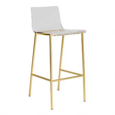 Clear Acrylic and Gold Morris Barstools Set of 2