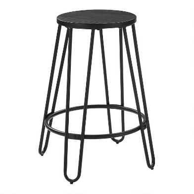 Black Steel and Elm Backless Adan Counter Stools Set of 2